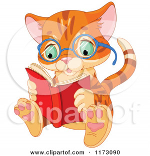 Cute Ginger Cat Wearing Glasses And Reading A Book by Pushkin