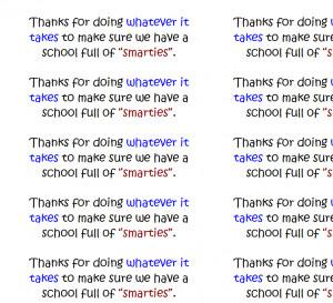... / Asst. Principals / Smarties Candy Gram – Teacher Appreciation
