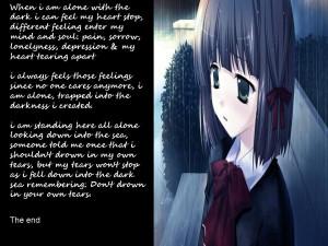 anime sad quote girl Image