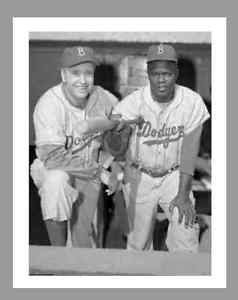 WALT ALSTON JACKIE ROBINSON REPRODUCTION 8 5 x 11 B W DODGERS PHOTO