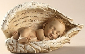 Sleeping Baby in Angel Wings Nursery Memorial Figurine