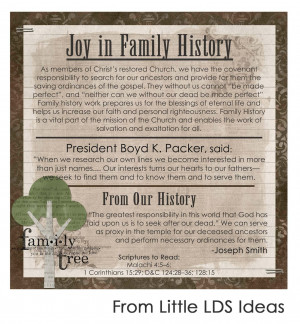 ... family tree' theme since this month's message is on Family History