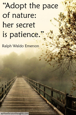 Adopt the pace of nature: her secret is patience -Ralph Waldo Emerson ...