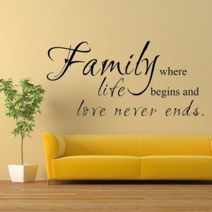 ... Family Wall Decal living room quote Love Life Sayings Home Decor 15