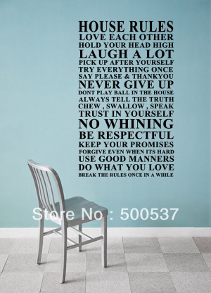 Wall Quote ,home decorations, House rule Wall Sticker never give up ...