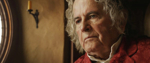 Ian Holm as old Bilbo in The Hobbit: An Unexpected Journey.