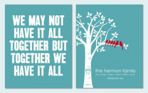 Inspirational Quote Custom Love Birds Family Tree Print - Anniversary ...