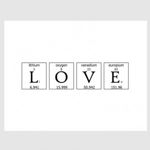 geeky romance periodic table love quote paper print in by EcoPrint