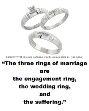 Funny marriage quote: The three rings of marriage are the engagement ...