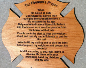 FireFighter Prayer on Maltese Cross 8 inch by 8 inch with Free ...