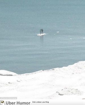 Teenagers floating away on a tiny iceberg on Lake Michigan after the ...