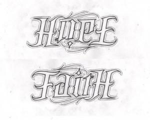 Hope Faith AMBIGRAM by lowlife619