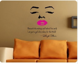 Marilyn Monroe Wall Decal Decor Quote Face Red/Pink Lips Large Nice ...