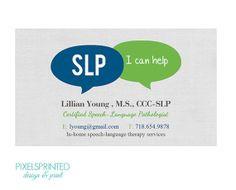speech language pathologist business cards, SLP business cards More