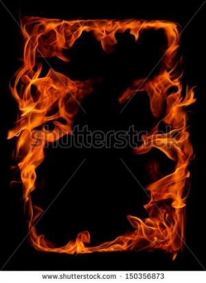 Burning Fire Frame Stock Photo