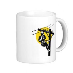 american power lineman electrician repairman pole mug