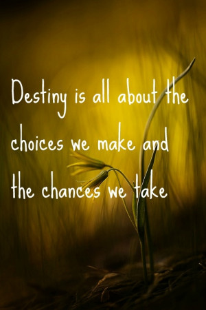 destiny is all about the choices we make and the chances we take