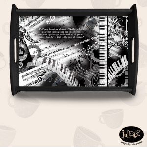 Piano Quotes Wooden Serving Tray by Juleez -
