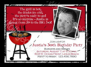 Burgers N Brews - Adult Men's BBQ - Grill Out - Printable Birthday ...