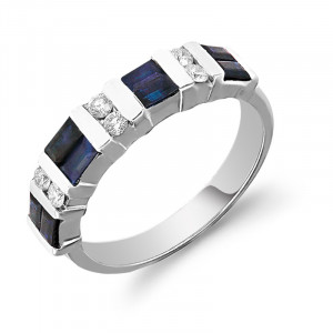 Baguette Blue Sapphire Ring with Diamonds in 14K White Gold