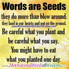 you plant and be careful what you say you might have to eat what you ...