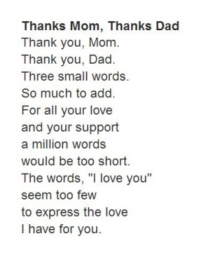 Short Parent's Day Poem From Kid With Title: Thanks Mom, Thanks Dad.