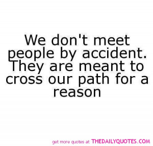 ... Accident. They Are Meant to Cross Our Path For a Reason ~ Life Quote
