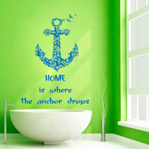 Wall Decals Wall Quotes Home Is Where The Anchor Drops Sea Gulls Vinyl ...