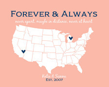 ... Moving Away Gift BFF Quotes Forever and Always Never Apart State Map