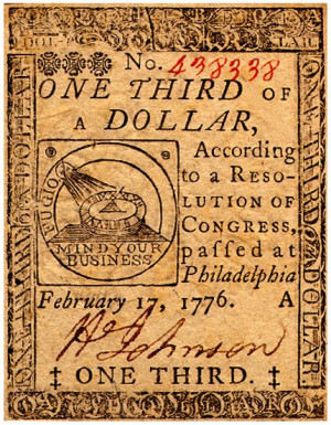 Continental Currency: One Third of a Dollar