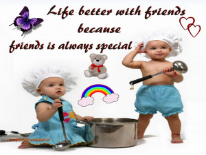 Life Better With Friends | Cute Friendship Quote Wallpaper For Desktop