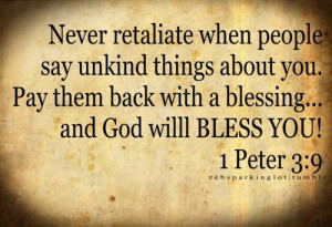 ... retaliate when People Say Unkind things about You ~ Blessing Quote