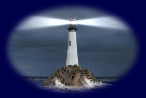 Lighthouse on a Rock at Sea