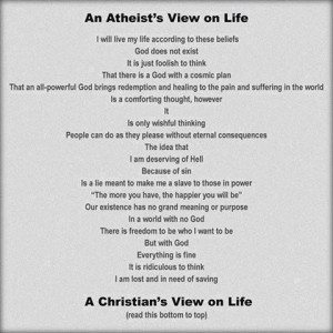 Atheist Vs Christian. Very clever