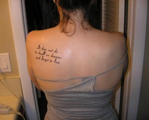 Harry Potter Quotes Tattoo on Back Shoulder