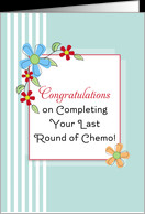 End of Chemo / Last Round of Chemo / Chemotherapy Card-Blue Flowers ...
