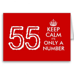 Keep Calm it's only a number 55th Birthday card