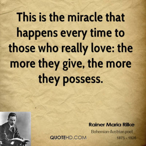 This is the miracle that happens every time to those who really love ...