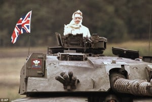 Iron Lady: British Prime Minister Margaret Thatcher stands in a ...