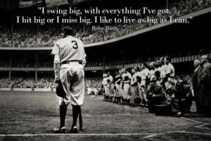 Title: Babe Ruth Swing Big Quote Sports Poster Print