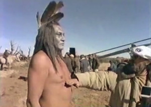 Will Sampson on the set of The Outlaw Josey Wales (1976)