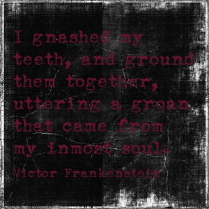 ... quote from the beloved book Frankenstein. Amazing. Love this book