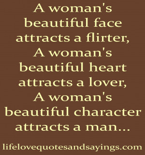woman's beautiful face attracts a flirter,