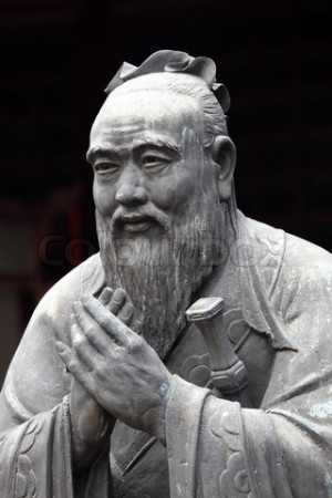Statue of Confucius at Confucian Temple in Shanghai, China