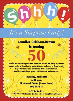 50th Surprise Birthday Invitation Wording