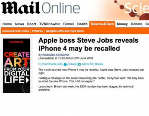 Daily Mail quotes 'Fake Steve Jobs' in iPhone 4 recall rumour