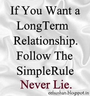 If you want a Long-term relationship follow simple rule Never Lie
