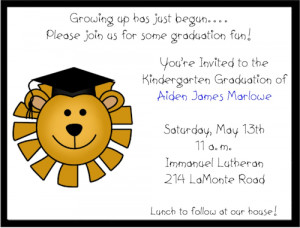 Shop our Store > Lion Preschool/Kindergarten Graduation Invitations