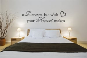 Dream is a Wish Your Heart makes bedroom wall sticker quote (medium)
