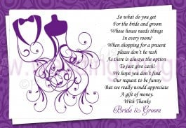 ... Poem Cards for your Invitaitions ask for money cash vouchers *COLOURS